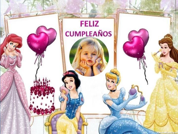 Marco de Feliz Cumpleaños con las Princesas | Marcos para Fotos Gratis