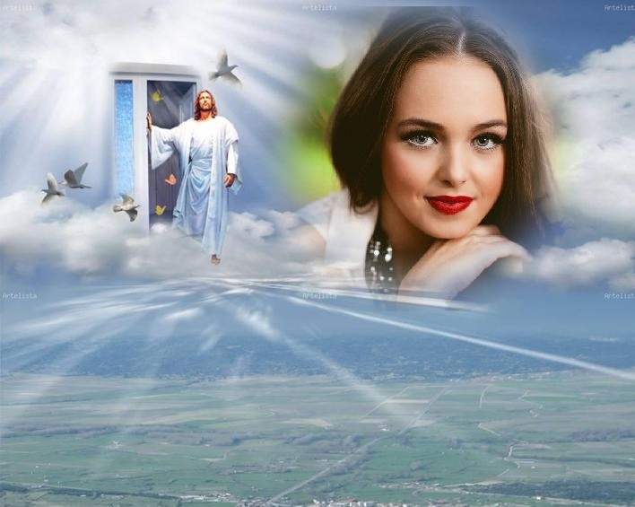 Marco de cielo junto a Jesús | Marcos para Fotos Gratis