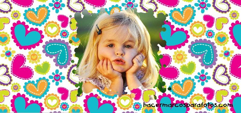 Marco con corazones de colores marcos para fotos gratis - Marcos de corazones para fotos ...