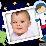 Marco infantil de astronauta