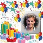 Marco con globos y regalos para Cumpleaños