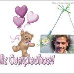 Marco de Feliz Cumpleaños con osito y globos